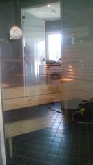 Saunan lasiovi puhdistuksen j�lkeen
