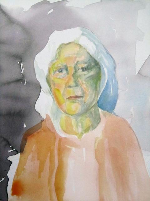 muotokuva-eeva-2-akvarelli, 36 x 53 cm