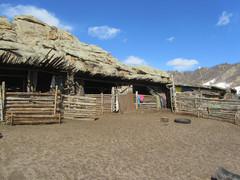 Eläinsuojat jurtan takana.   Sheds for animals behind the yurt.    23.3.