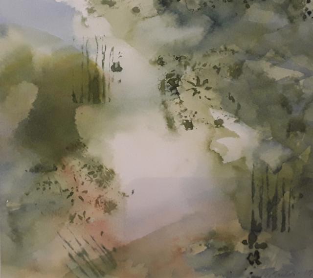 Flora näyttely Metsä III, 2019, 32 x 32 cm, yksityisomistuksessa