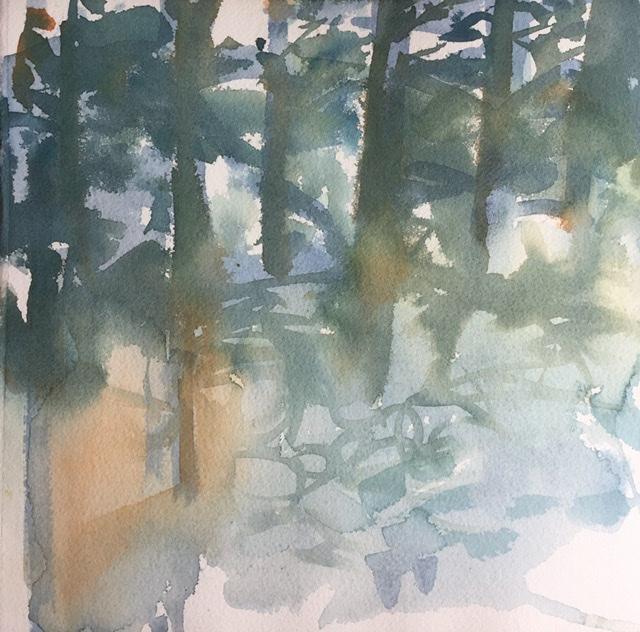 """""""Metsän henki 1""""; Orrörarna 2020, 28 x 28 cm"""