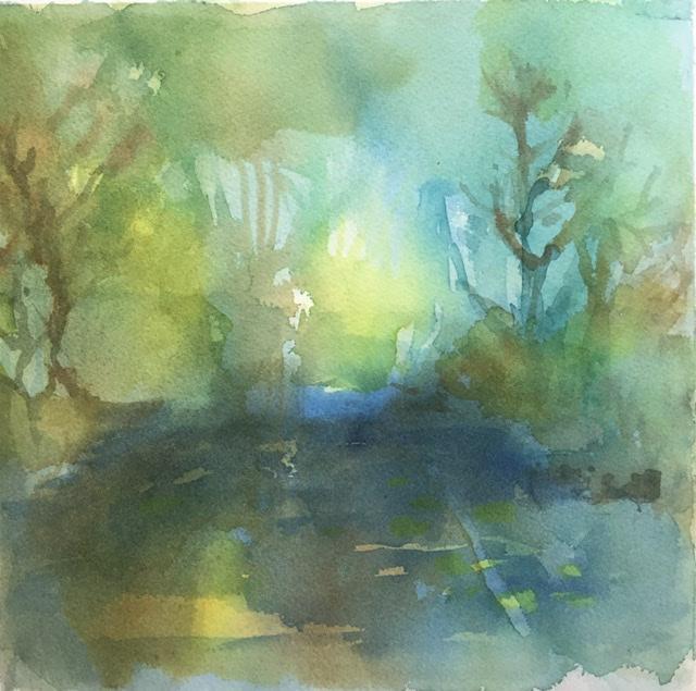 """""""Metsän henki 4"""" ; Bastholmen 2020, 28 x 28 cm, yksityiskokoelmissa"""