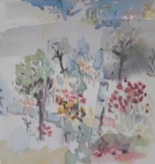 Naapurin piha, 23 x 23 cm