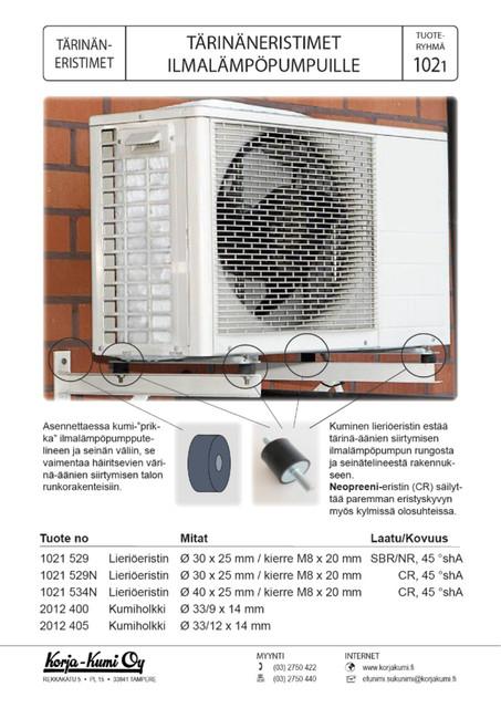 Tärinäneristimet ilmalämpöpumppujen seinäteline asennuksiin