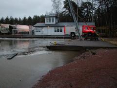 Vesi nousemassa Yliskylän venekerholle
