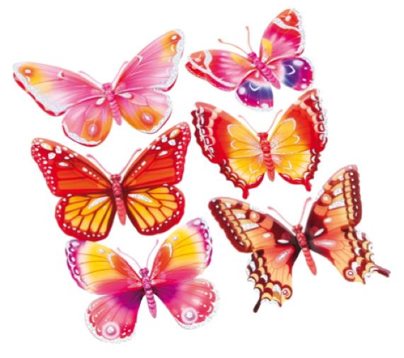 Sisustustarrat, perhoset punasävyiset  Laurelin