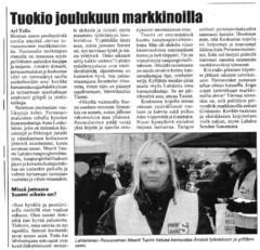Lahden Seudun Sanomien kirjoitus 3.12.2014 toritapahtumasta