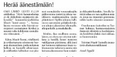 Yleisönosastokirjoitus Omalähiö-lehdessä