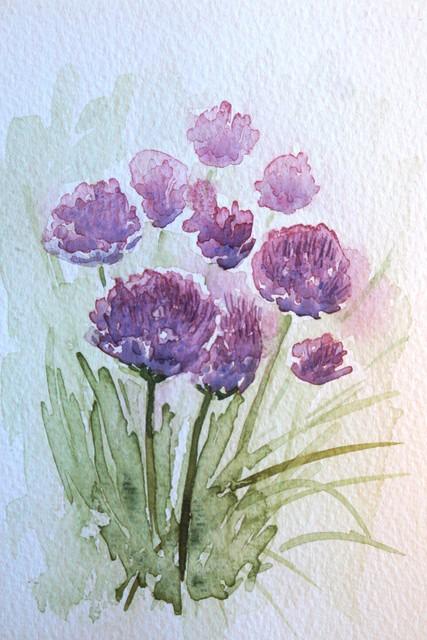 Kukkapostikortti, akvarelli