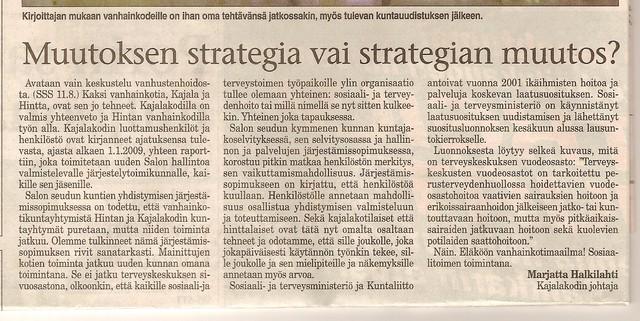 Muutoksen strategia vai strategian  muutos?  sss 14.8.2007