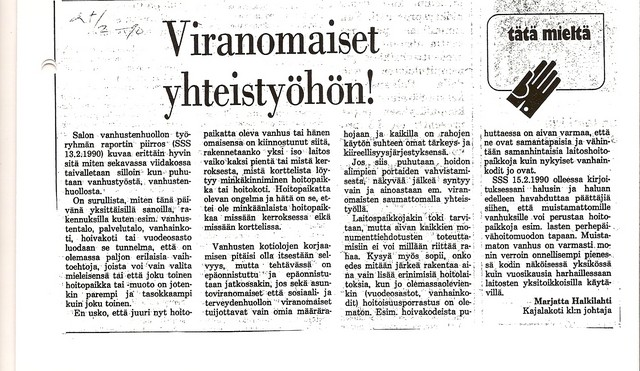 Viranomaiset yhteistyöhön sss 27.2.1990