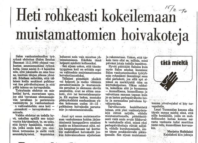 Heti rohkeasti kokeilemaan muistamattomien hoivakoteja sss 15.2.1990