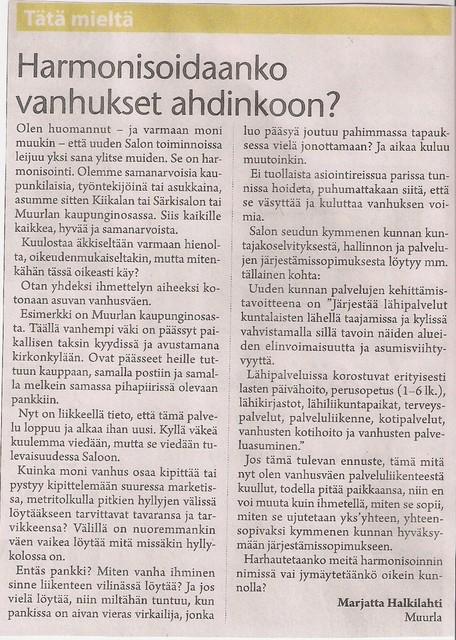 Harmonisoidaanko vanhukset ahdinkoon? sss 18.8.2009
