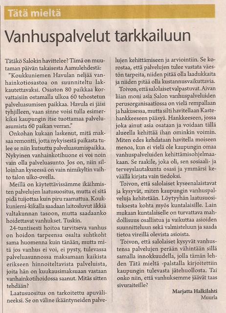 Vanhuspalvelut tarkkailuun sss 15.10.2009