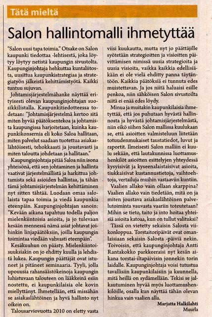 Salon hallintomalli ihmetyttää sss 4.6.2010