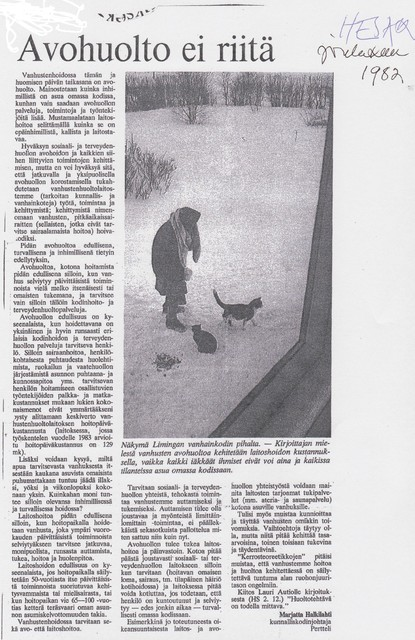 Avohuolto ei riitä Helsingin Sanomista 1982