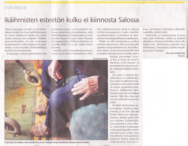 Ikäihmisten esteetön kulku ei kiinnosta Salossa sss 13.8.2012