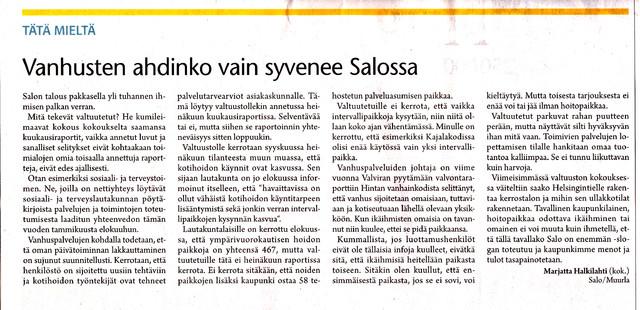 Vanhusten ahdinko vai syvenee Salossa sss 23.9.2012