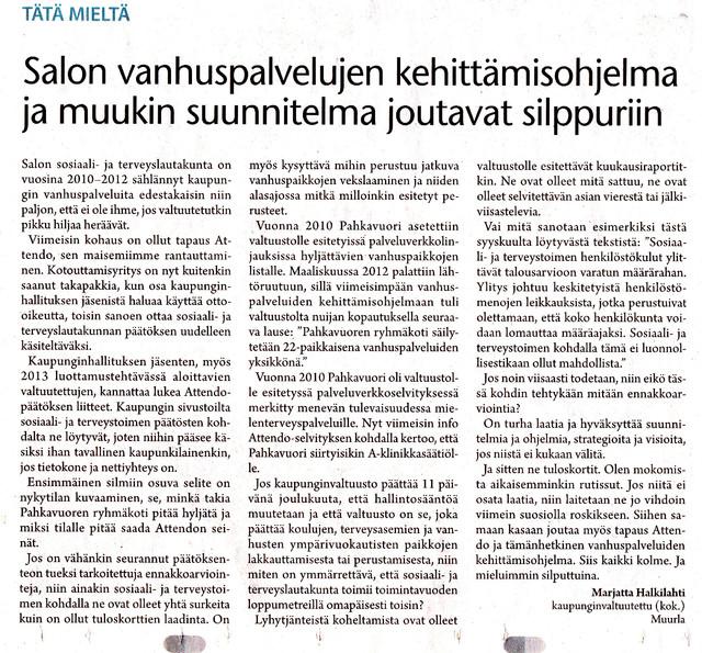 Salon vanhuspalvelujen kehittämisohjelma ja muukin suunnitelma joutavat silppuriin sss 4.1.2013