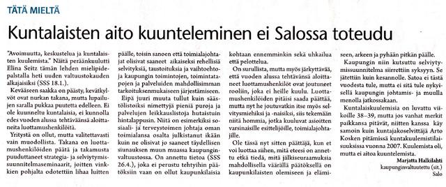 Kuntalaisten aito kuunteleminen ei Salossa toteudu sss 8.5.2013