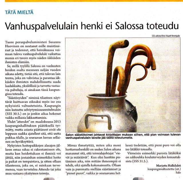 Vanhuspalvelulain henki ei toteudu Salossa sss 3.6.2013