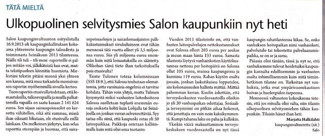 Ulkopuolinen selvitysmies Salon kaupunkiin nyt heti sss 19.9.2013