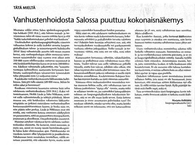 Vanhustenhoidosta Salossa puuttuu kokonaisnäkemys sss 1.7.2014