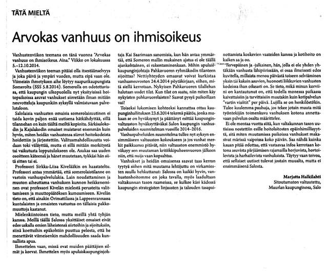 Arvokas vanhuus on ihmisoikeus sss 10.8.2014