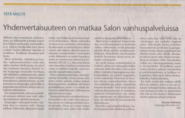 Yhdenvertaisuuteen on matkaa Salon vanhuspalveluissa sss 15.1.2016