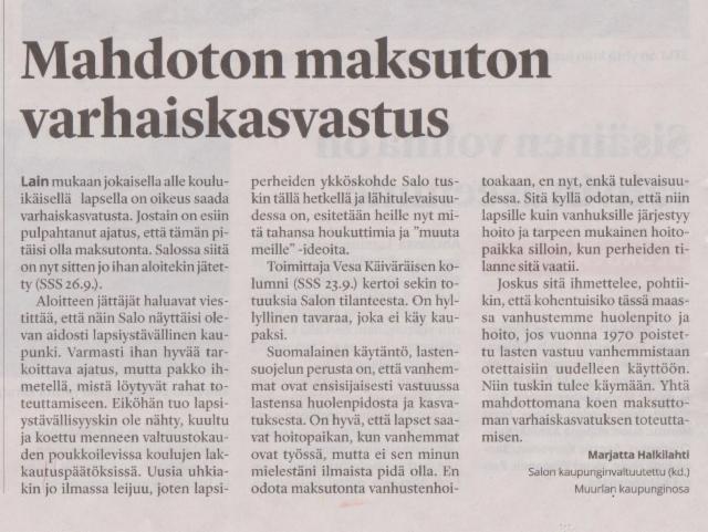 Mahdoton maksuton varhaiskasvatus sss 28.9.2017