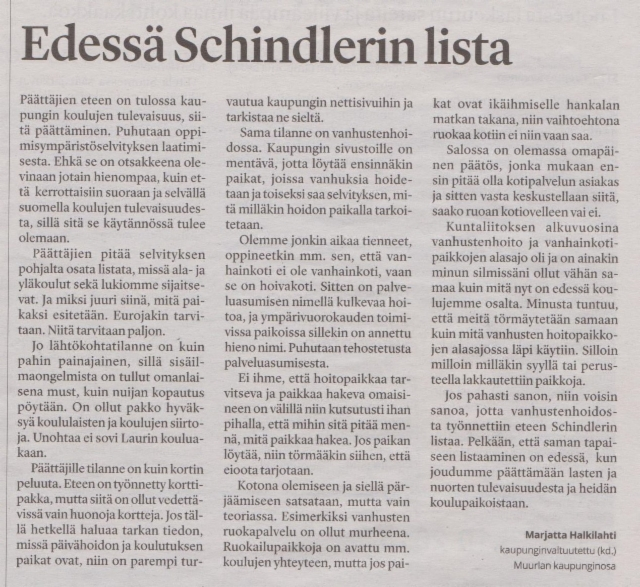 Edessä Schindlerin lista SSS 15.10.2018