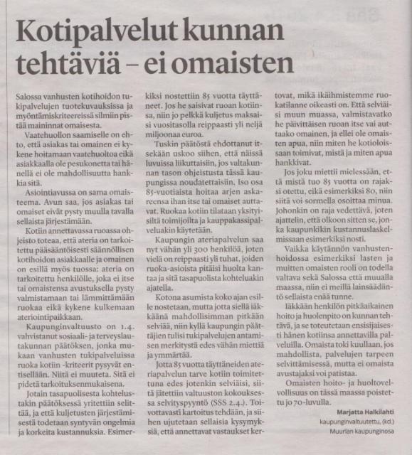 Kotipalvelut kunnan tehtäviä SSS 8.4.2019