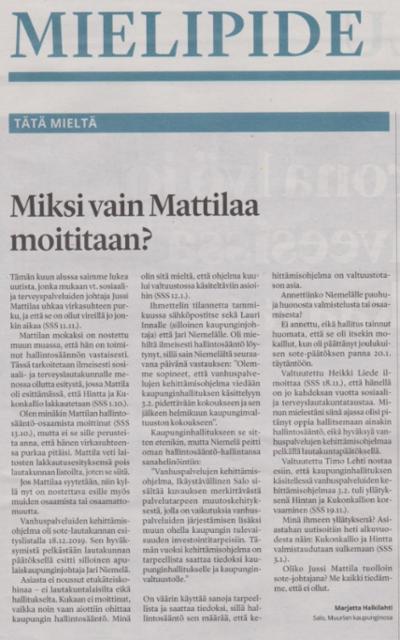 Miksi vain Mattilaa moititaan? SSS 21.11.2020