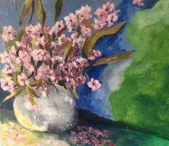 Kirsikankukat, öljy kankaalle 50 x 40 cm
