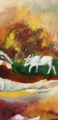 Valkoinen peura, 2020 öljy kankaalle 40 x 80 cm