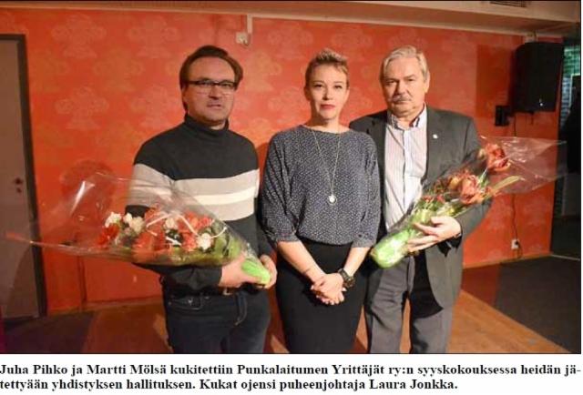 Punkalaitumen Yrittäjien hallitus 23.11.2018. Kuva Juha Aro.
