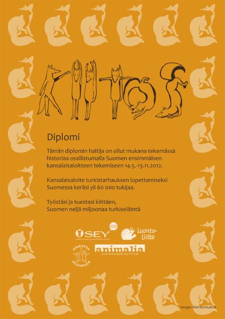 Turkistarhaton Suomi kansalaisaloite Diplomi.