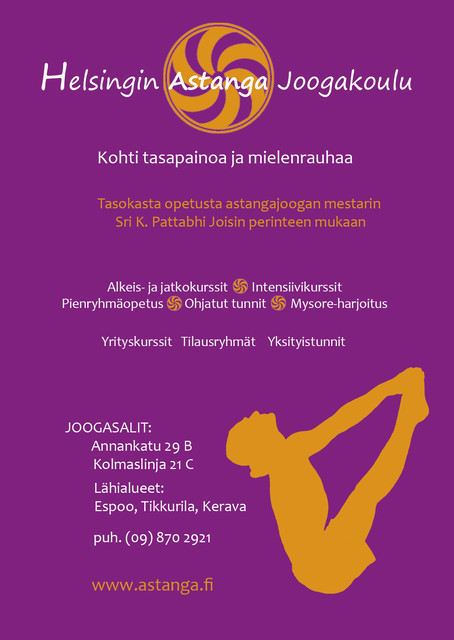 Helsingin astanga joogakoulun Flyeri