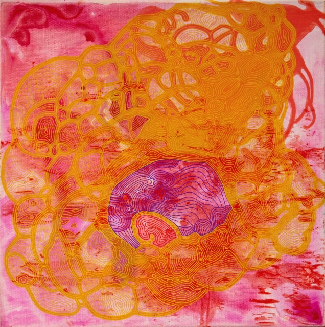 Ilon lähde / 40 x 40 cm / akryyli ja akryylitussi, ripustusvalmis canvas / 111€