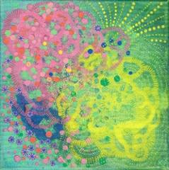 Ilon kautta / 20 x 20 cm / akryyli ja akryylitussi, ripustusvalmis canvas / 55€