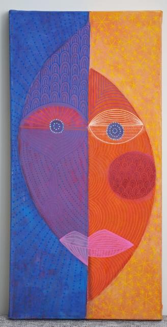 Tunteiden tasapaino / 111€ / 60 x 30 x 4 cm / akryyli ja akryylitussi, ripustusvalmis canvas