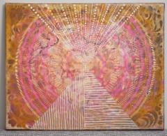 MYYTY / Ra / 33 x41 cm / akryyli ja akryylitussi, ripustusvalmis canvas