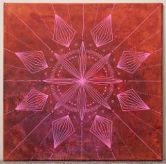 MYYTY / Shamaanimatka / 111€ / 40 x 40 cm / akryyli ja akryylitussi / ripustusvalmis canvas