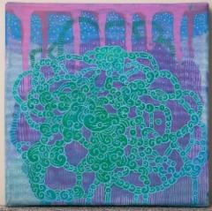 Seikkailu toisella tasolla / 44€ / 20 x 20 cm / akryyli, metallinhohtoinen akryyli ja akryylitussi / ripustusvalmis canvas