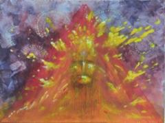 Aurinkotemppeli / 222€ / n. 30 x 40 cm / akryyli, akryylitussi / ripustusvalmis canvas / 2020