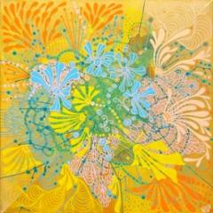 Kesäfestarit / 222€ / 40 x 40 cm / akryyli, akryylitussi / ripustusvalmis canvas / 2020