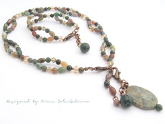 Mikä värien kirjo - Agaatti setti näyttävällä, irrotettavalla riipuksella / Indian Agate necklace&bracelet sets - Look at that rabge of colours!