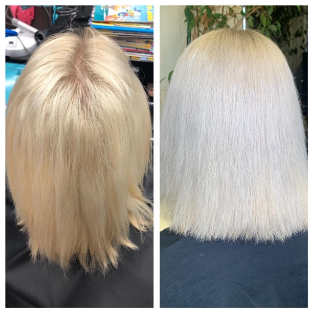 Ennen ja jälkeen, pelkkä taittosävy laitettu hiukseen.