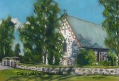 Noormarkun kirkko, 200 €, sis. kehykset 30 x 40, pastelliliitu
