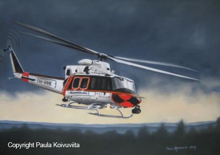 Rajavartiolaitoksen helikopteri, 450 €, öljyväri